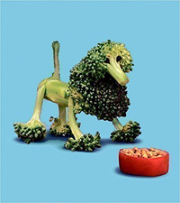Dog made out of broccoli stalks, illustration by Saxon Freymann and story by Joost Elffers, for 'Dog Food'