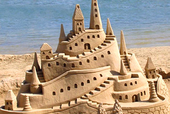 elaborate castle made of sand