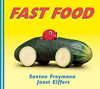 Fast Food, a book by Saxon Freymann and Joost Elffers, with a photograph of a radish driving a cucumber car